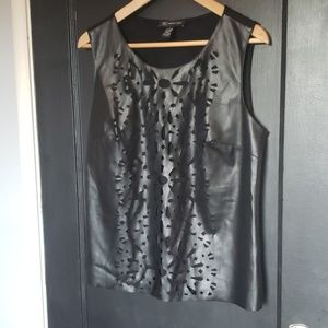 I.N.C perforated black pleather tank top
